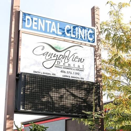 The Canyon View Dental sign in front of our dental office